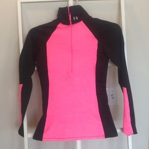 Under armour coldgear hot pink half zip small nwot